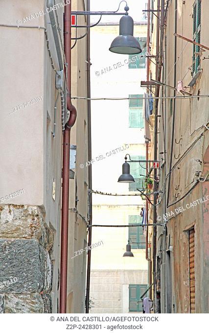 Narrow street in Savona, Italian Riviera, Liguria, Italy, Europe