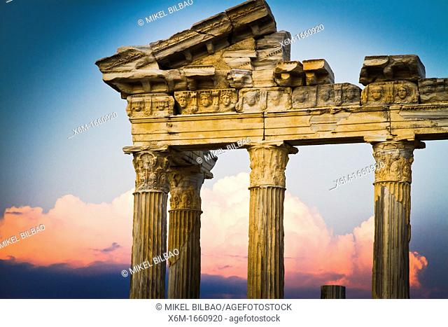 Temple of Apollo at sunset  Side ancient city  Province of Antalya  Mediterranean coast  Turkey