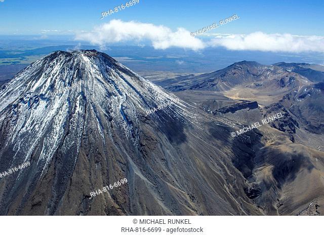 Aerial of Mount Ngauruhoe, Tongariro National Park, UNESCO World Heritage Site, North Island, New Zealand, Pacific