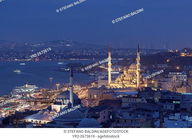Istanbul cityscape with Süleymaniye mosque as seen from from Hamdi restaurant at night, Turkey