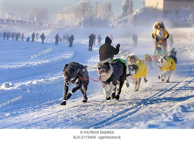 Musher Didier Moggia Mushes Down The Chena River At The Start Of The 2008 Yukon Quest In Fairbanks, Alaska