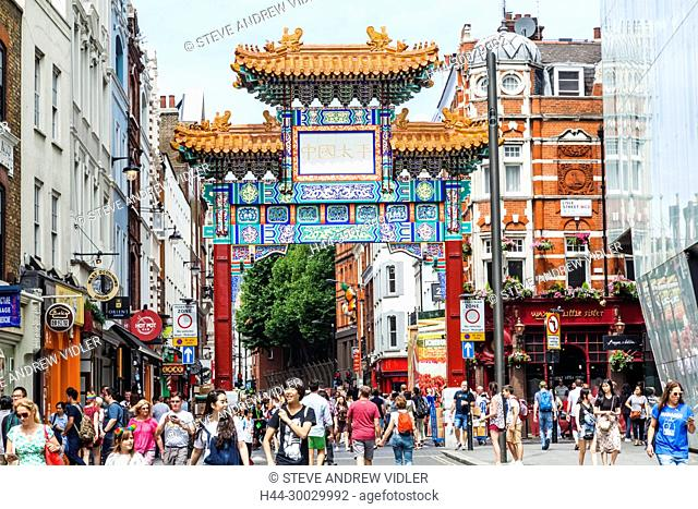 England, London, Leicester Square, Chinatown, Chinese Gate