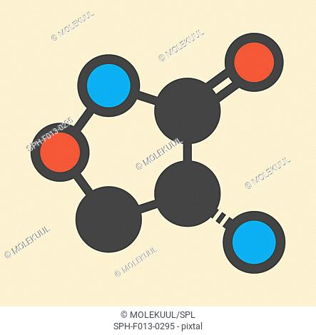 Cycloserine (D-cycloserine) tuberculosis drug molecule. Stylized skeletal formula (chemical structure). Atoms are shown as color-coded circles: hydrogen...