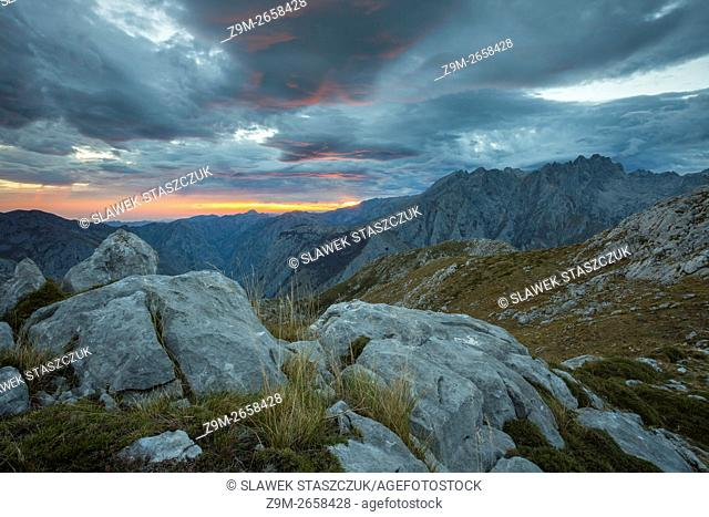 Sunrise in Picos de Europa National Park near Vega de Ario, Asturias, Spain