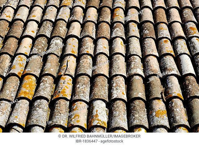 Terracotta tiled roof, Gradara, Province of Pesaro and Urbino, Marche, Italy, Europe