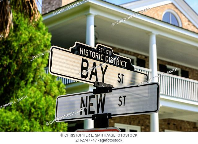 Historic Bay Street and New Street sign in Beaufort, SC