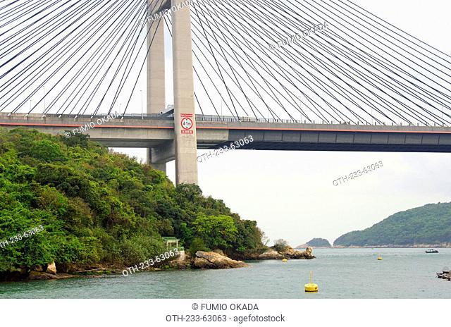 Overlooking the Tsing Ma Bridge from Ma Wan Island, Hong Kong