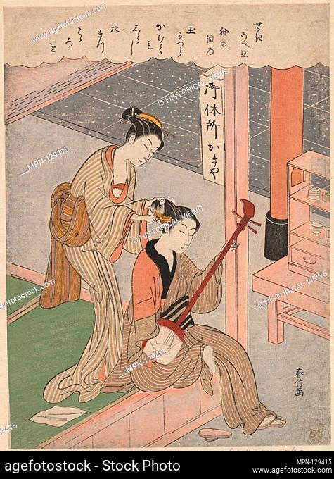 Combing His Hair. Artist: Suzuki Harunobu (Japanese, 1725-1770); Period: Edo period (1615-1868); Date: 1770; Culture: Japan; Medium: Polychrome woodblock print;...