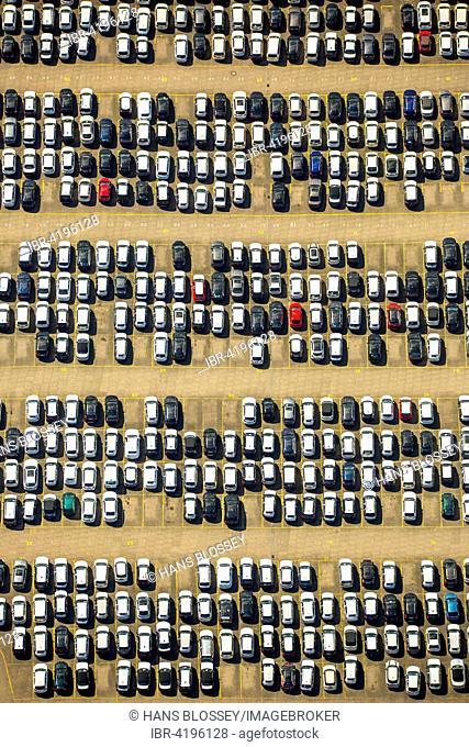 Auto stockpile, BLG Auto Terminal Hamburg, Port of Hamburg, Hamburg, Germany