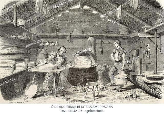 Boiling milk, cheese making in a hut in the Alps, France, illustration from L'Illustration, Journal Universel, No 518, Volume XXI, January 29, 1853