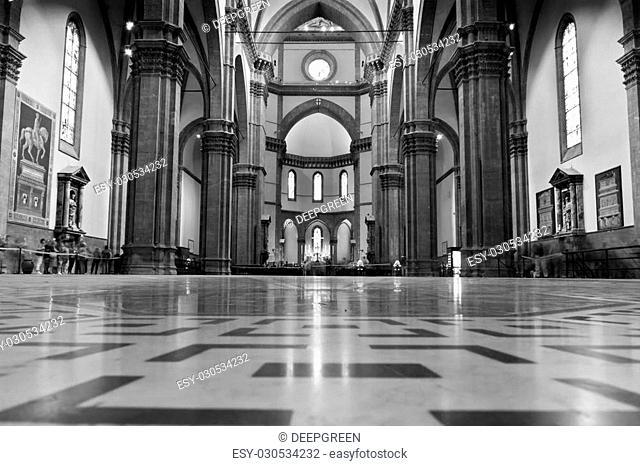 Monochrome photo of interior of Duomo Santa Maria Del Fiore . Florence, Italy