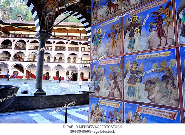 Arches and Series of frescos in the Church of the Virgin in Rila Monastery, Rila mountains, Bulgaria