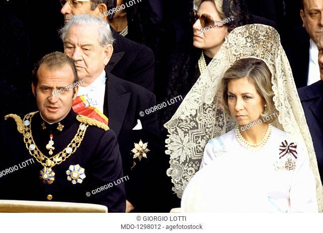 Juan Carlos of Spain and Sophia of Greece during the funeral of pope Paul VI. Juan Carlos of Spain and his wife Sophia of Greece attend to the funeral of pope...