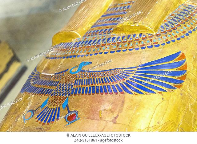 Egypt, Cairo, Egyptian Museum, from the tomb of Yuya and Thuya in Luxor, detail of the mummy-shaped inner coffin of Yuya : Usekh collar and Nekhbet vulture