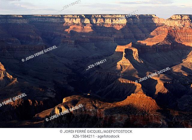 Sunset on the Grand Canyon National Park from Yaki Point, Arizona, USA