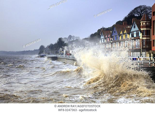 Penarth in South Wales, captured on a stormy morning in mid February when high tide coincided with sunrise