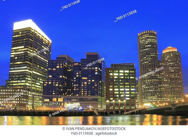 Boston at Dusk, Massachusetts, USA