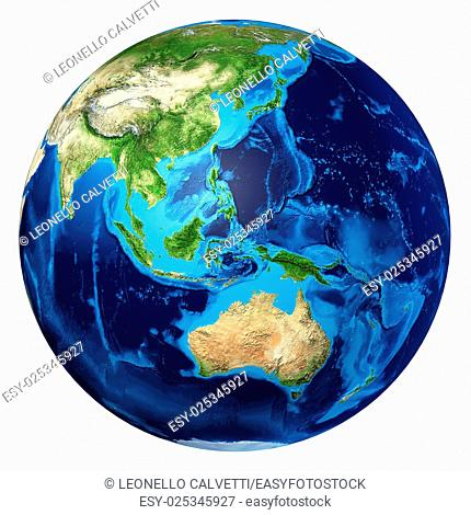 Earth globe, realistic 3 D rendering. Oceania view. On white background