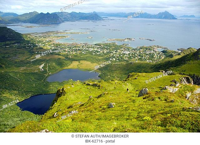 View from above onto Stamsund and the surrounding Vestvagoya Lofoten Norway