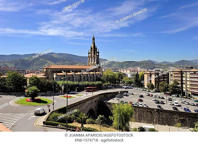 Neighborhood of Begoña in Bilbao with the Begoña Basilica in the center of the image