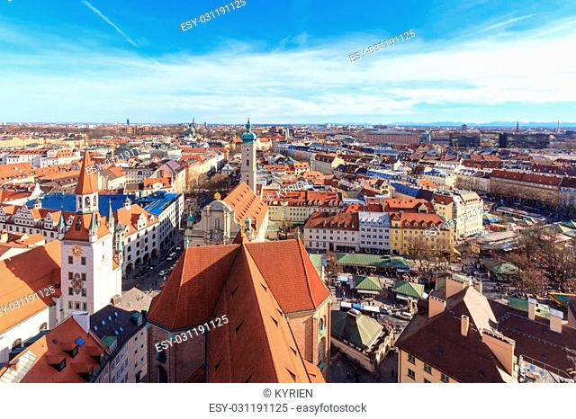 """Munich cityscape seen from """"""""Alter Peter"""""""", the tower of St. Peter's church"""