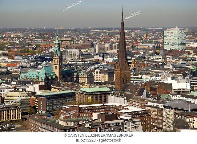 Arial view over the city center of Hamburg with St. Jacobi church and Hamburg City Hall, Hamburg, Germany