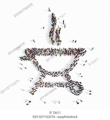 A large group of people in the shape of barbecue. Isolated, white background