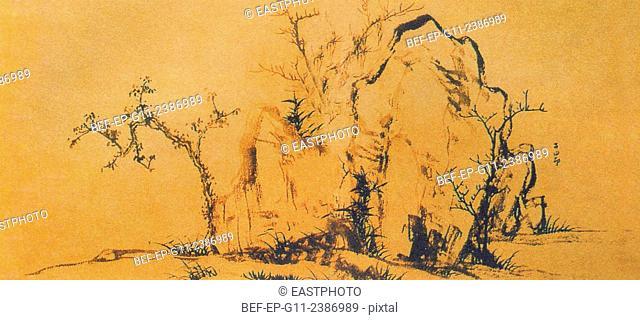 Yuan Zhao Mengfu Stone and Bamboo painting