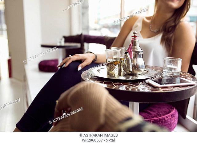 Businesswomen in tea room