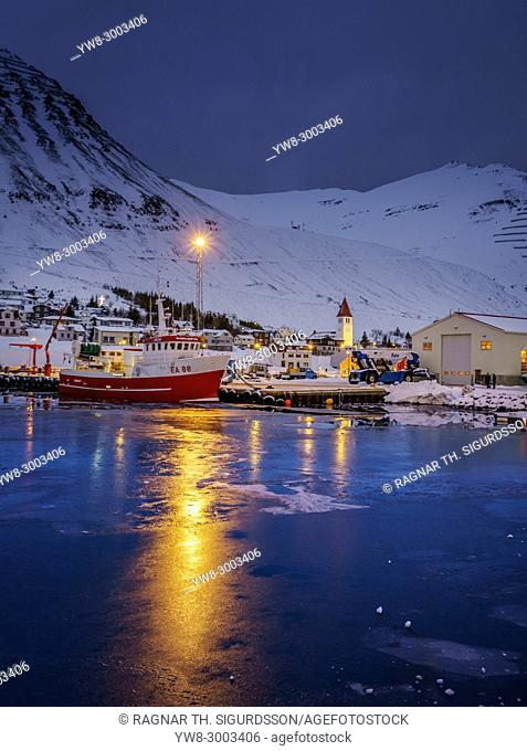 Harbor in the Winter, Sigulfjordur, Northern Iceland
