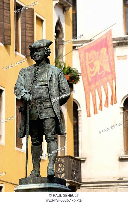 Italy, Venice, Campo San Bartolomeo, Carlo Goldoni Statue