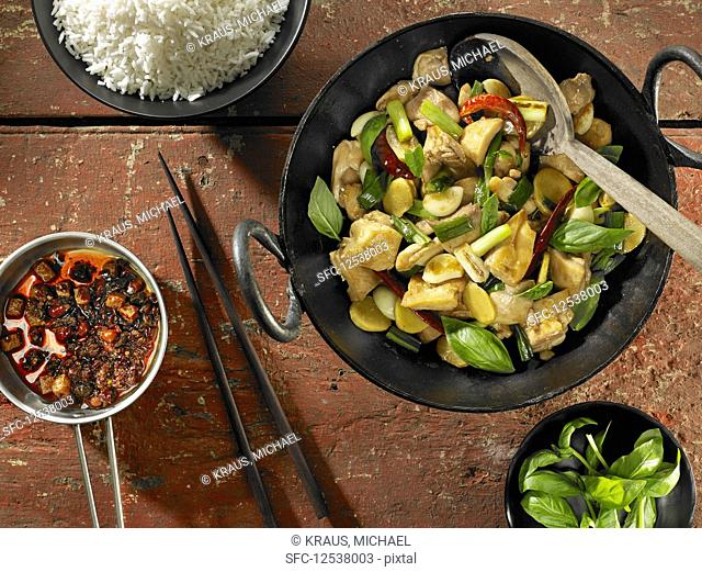 Taiwanese Three-Cup Chicken and White Rice