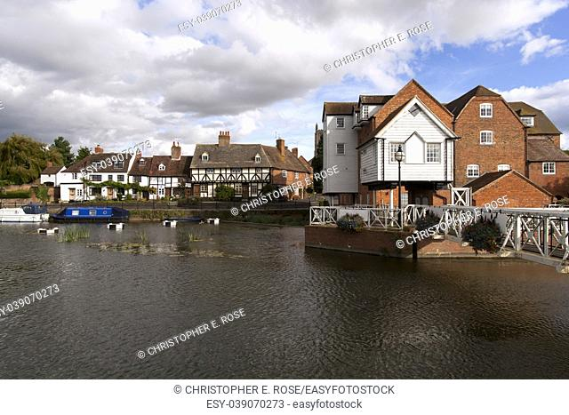 A picturesque corner by Abbey Mill in the town of Tewkesbury, Gloucestershire, Severn Vale, UK