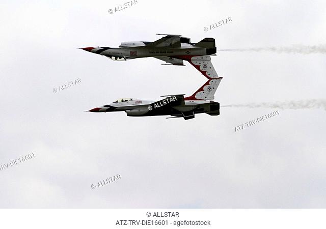 2 F-16C JET FIGHTERS; US AIR FORCE THUNDERBIRDS DISPLAY TEAM; 03/07/2011