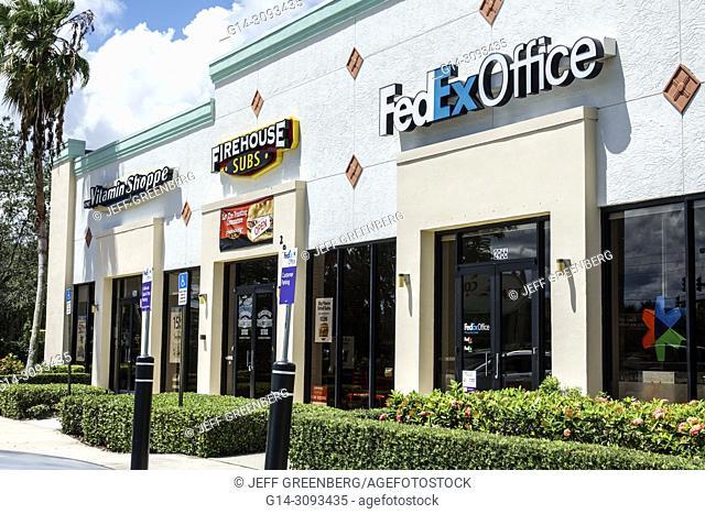 Florida, Jensen Beach, shopping, strip mall, stores, FedEx office, Firehouse Subs, Vitamin Shoppe, exterior, businesses, entrances