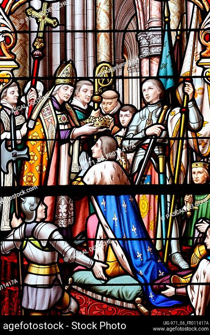Saint Thomas of Cantorbery church. Stained glass window. Joan of Arc at the coronation of Charles VII. Cuiseaux. France
