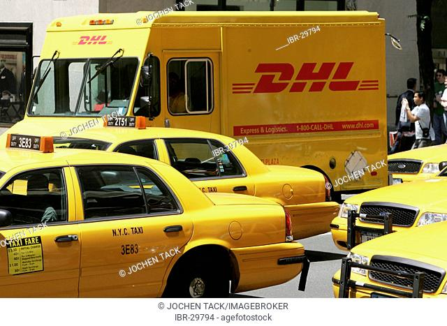 USA, United States of America, New York City: DHL courier truck on 5th Avenue