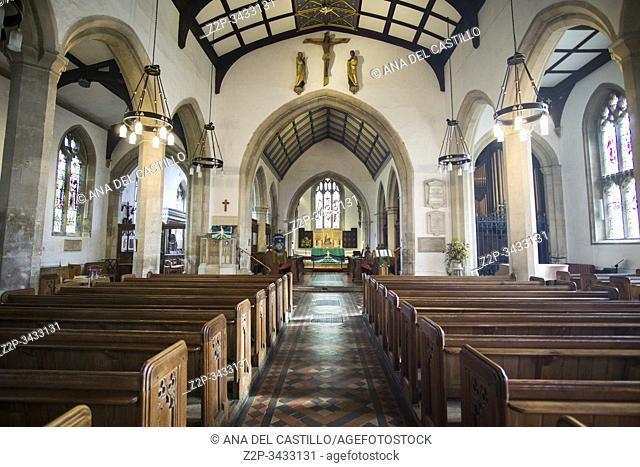 Painswick, England: One of the most beautiful villages in the Cotswolds. Church of St Mary interior