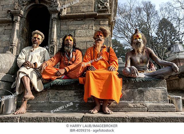 Sadhus, ascetics, holy men, Pashupatinath, Kathmandu, Nepal
