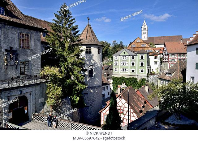 Meersburg in Lake of Constance, Old Town houses in the castle