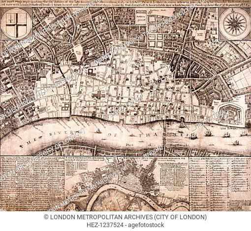 Map of the City of London and surrounding area showing the extent of damage caused by the Great Fire of London in 1666