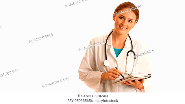 health care and medicine - young woman doctor isolated over white