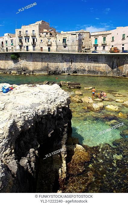 Town houses and sea wall, Syracuse  Siracusa , Sicily