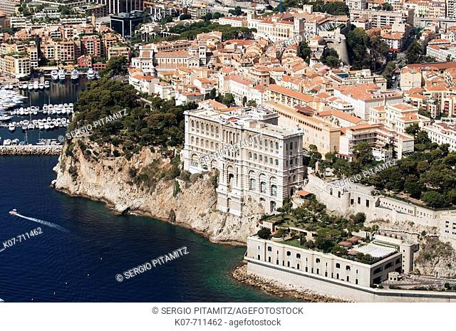Monaco Oceanography Museum and Monaco, View from Helicopter, Cote d'Azur, Monaco