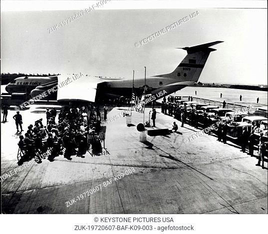 Jun. 07, 1972 - Victims of Tel Aviv Airport Attack Flown to Puerto Rico: This was the scene at Lod Airport, Tel Aviv, when 16 aluminium coffins containing the...
