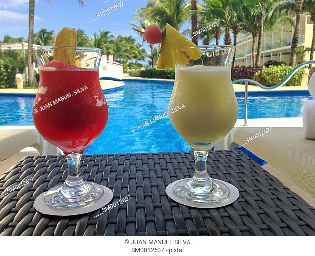 Cocktails by a pool, Riviera Maya, Mexico