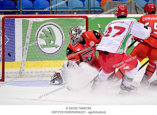 From left hockey player goalie MAREK MAZANEC of Hradec Kralove receives a goal during the Champions Hockey League H group game: Hradec Kralove vs Cardiff Devils...