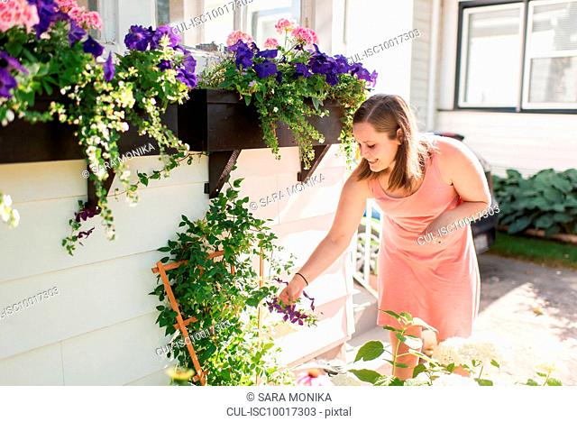 Woman tending to flowers in garden