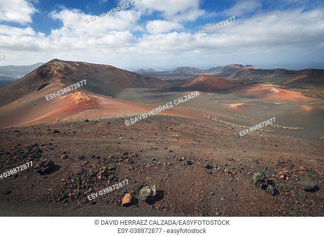 Amazing volcanic landscape and lava desert in Timanfaya national park, Lanzarote, canary islands, Spain