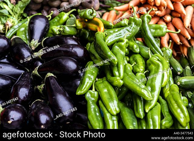 Vic weekly market, fresh and organic products, Barcelona, Catalonia, Spain